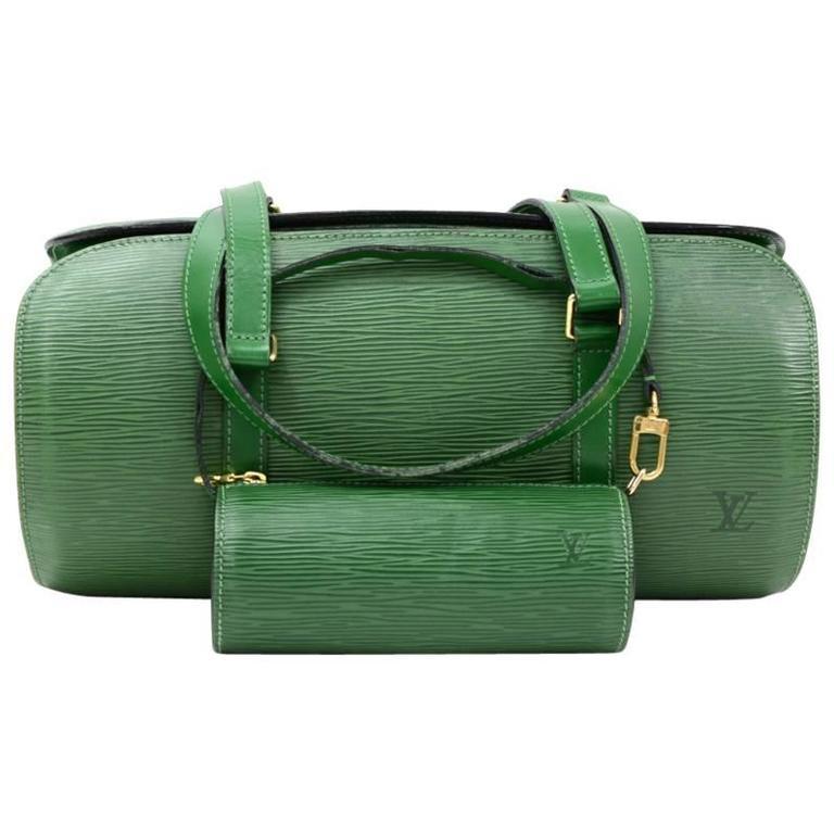 Louis Vuitton Soufflot Green Epi Leather Bag + Pouch