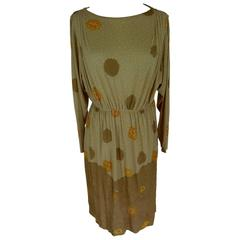 De Parisini 1970s dress floral 100% silk wrap beige women's size 12 UK vintage
