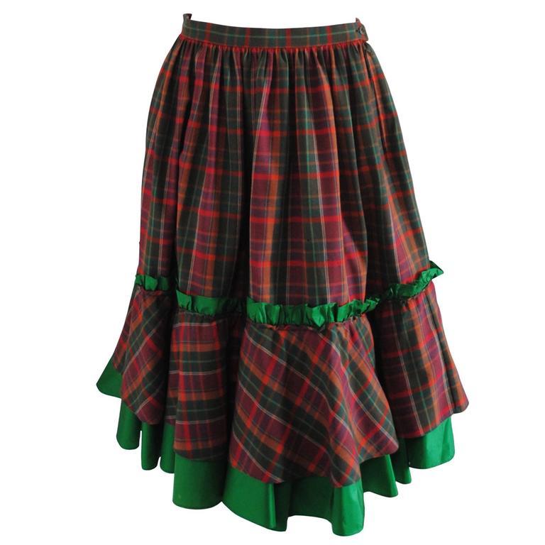 1980s Christian Dior Tartan Skirt 1