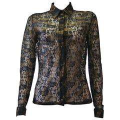 Istante By Gianni Versace Lace Sheer Printed Shirt