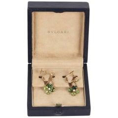 Bulgari Bvlgari Yellow Gold Clover Tourmaline Earrings