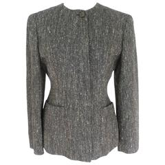 Fendi 1980s jacket silk and wool gray women's tweed blazer size 42
