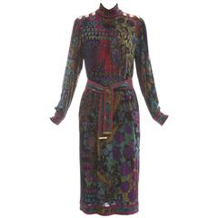 Leonard Silk Wool Printed Sac Dress With Self Belt, Circa 1980's