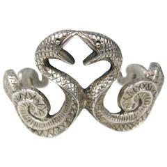 Double Headed Snake Bracelet 925 Sterling Silver Goth