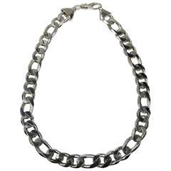 Massive 1990s Figaro Heavy Sterling Moto Biker Necklace  Chain