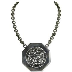 """Large Stephen Dweck """"OOAK"""" Sterling Disc Necklace New never worn 1990s"""