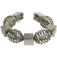 Sterling silver Modernist Cube Spiral & Cube Bracelet Cuff