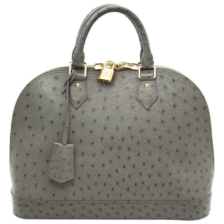 Louis Vuitton Alma PM Grey Ostrich