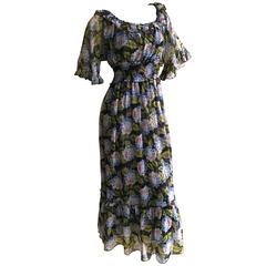 D&G Dolce & Gabbana Hydrangia Print Silk Dress