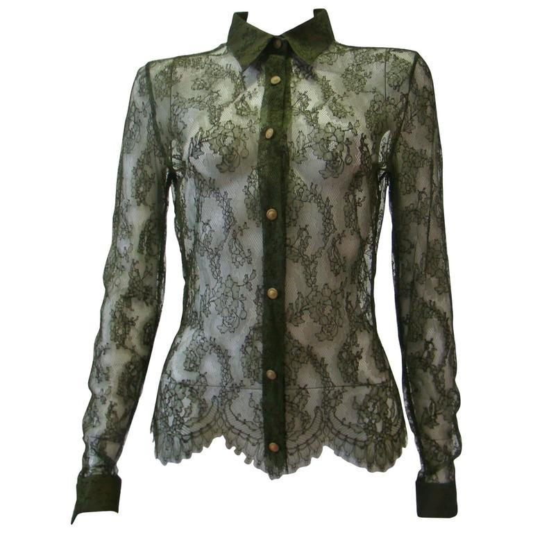 Istante By Gianni Versace Lace Sheer Shirt 1