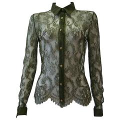 Istante By Gianni Versace Lace Sheer Shirt