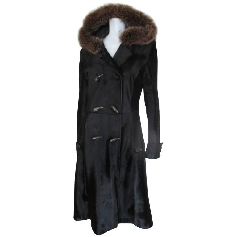 Dolce & Gabbana Hooded Black Pony Fur Coat For Sale