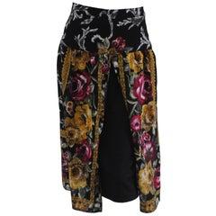 1980s Vintage Wool Flower Skirt