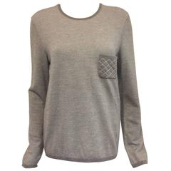 Chanel Cashmere Blend Sterling Pullover With Silver Metallic Threads Sz 46