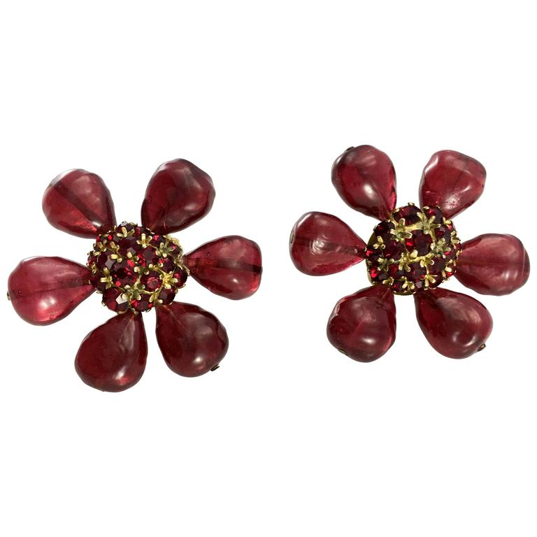 1970s Chanel Red Gripoix Large Flower Earrings For Sale