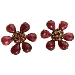 1970s Chanel Red Gripoix Large Flower Earrings