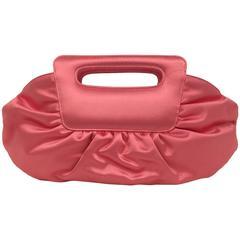 Christian Louboutin Lipstick Pink Satin Gathered Evening Bag