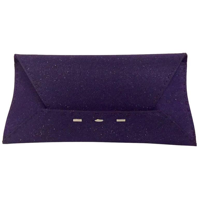 VBH Manila Purple Metallic Fabric Envelope Clutch With Suede Lining