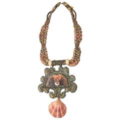 """Alex and Lee """"Peace and Love"""" Shell Pendant Necklace circa 1970s"""