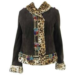 Blumarine Brown Suede Embellished Jacket Faux Leopard Lined