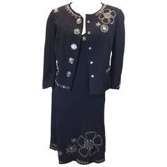 Moschino NWT Black Studded 2 Piece Dress Suit