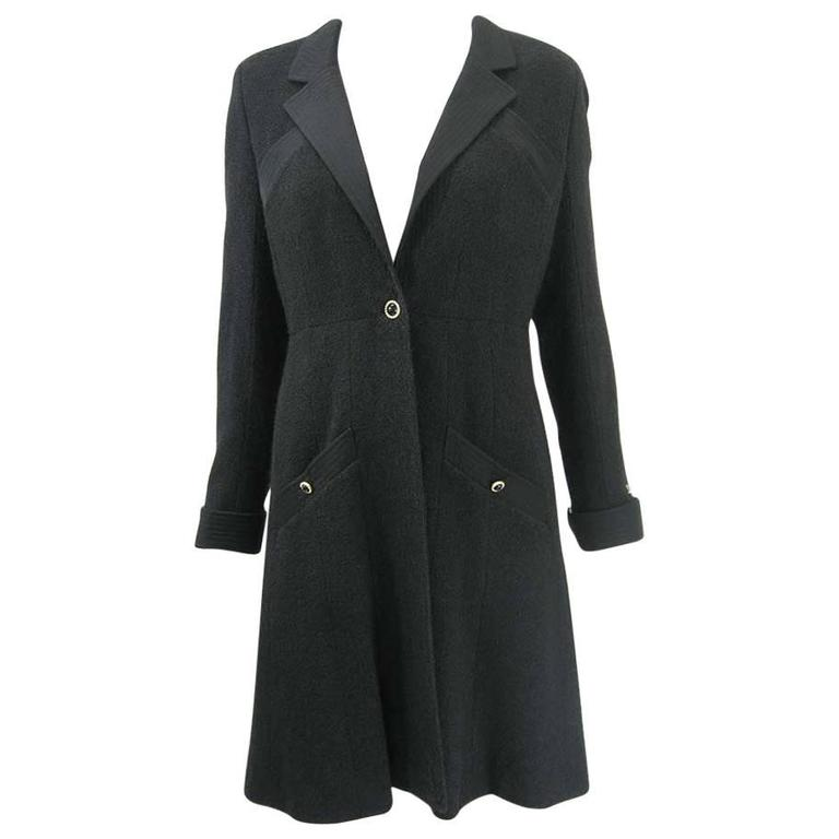 Chanel 2002 Black Silk Boucle Coat