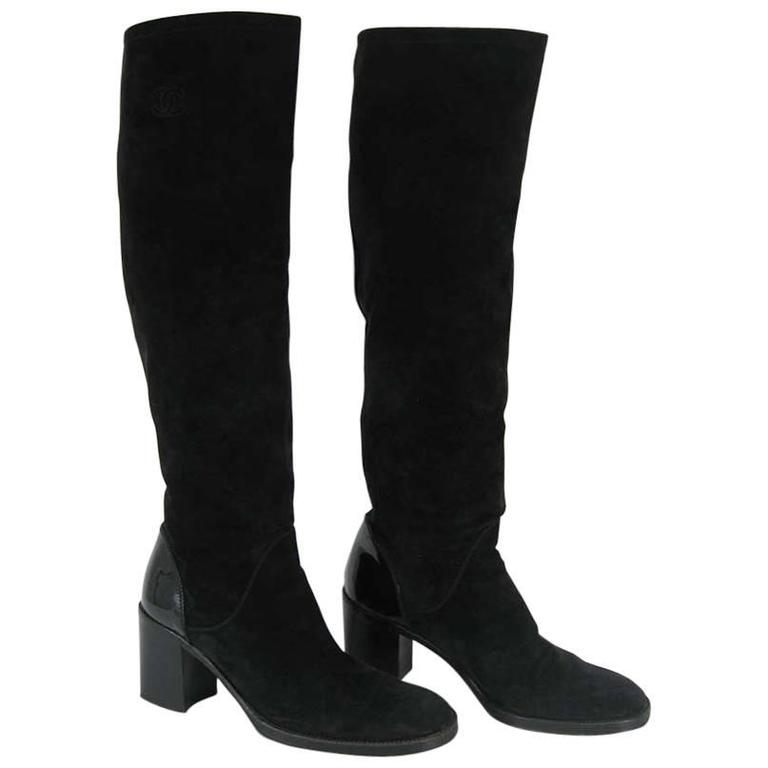 Chanel Tall Black Suede and Leather Block Heel Boots  For Sale