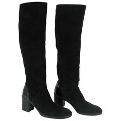Chanel Tall Black Suede and Leather Block Heel Boots