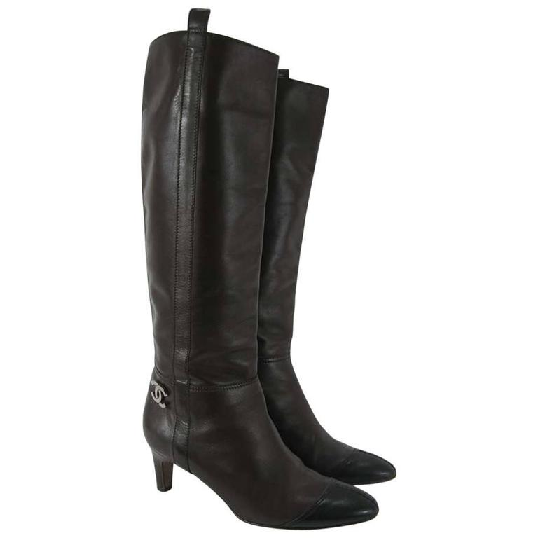 Chanel Tall Brown and Black Leather Boots