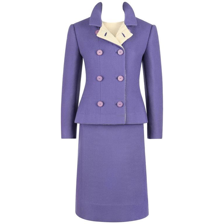 JEANNE LANVIN c.1960's 3 Piece Purple & Ivory Wool Blazer Tank Top Skirt Suit