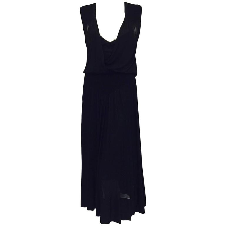 Chanel Black Viscose Stretch Dress With Surplice Front and Full Longer Skirt