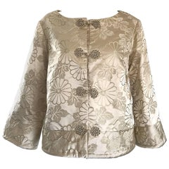 1960s Dynasty Beige Silk Flower Asian Gorgeous Vintage 60s Swing Jacket
