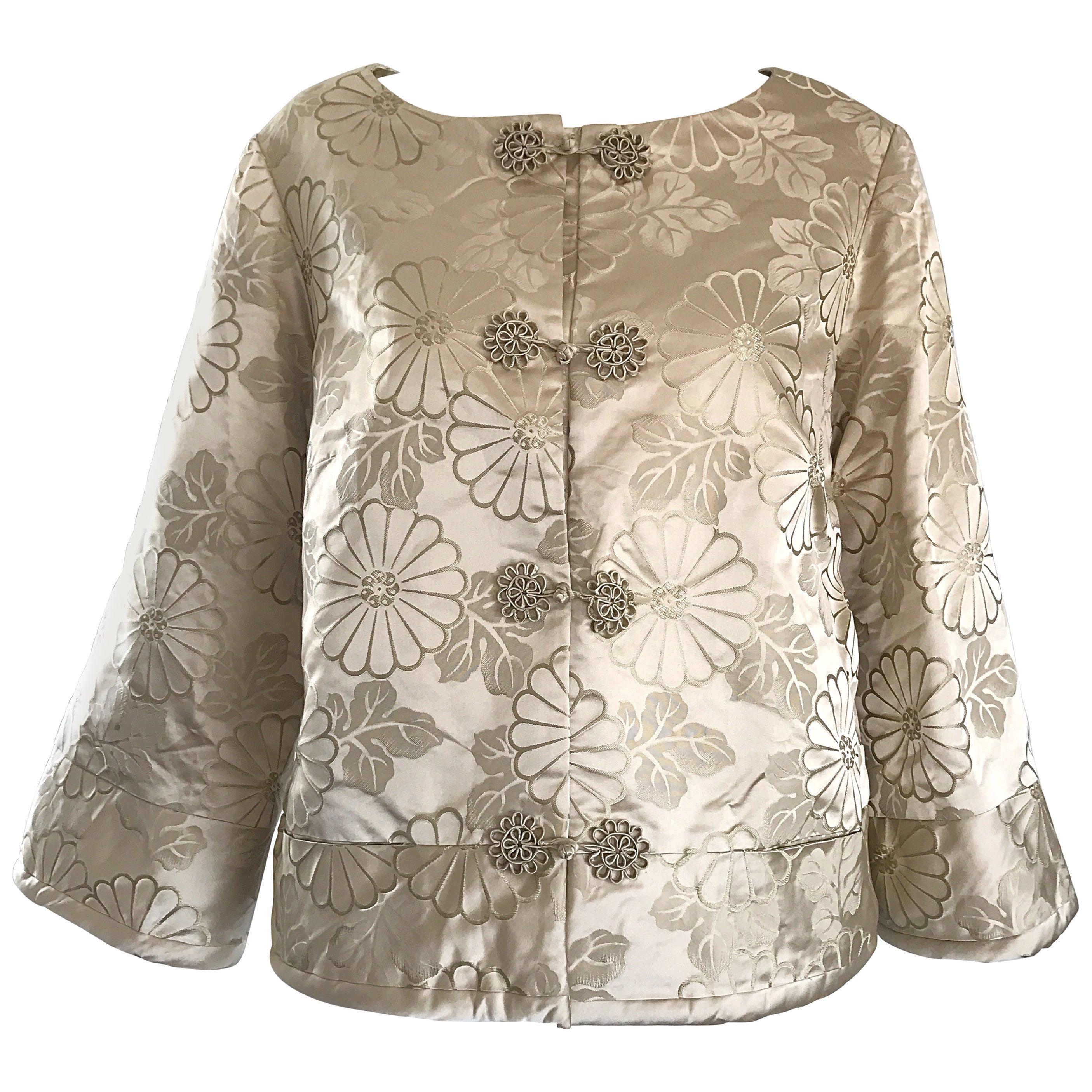 1960s Dynasty Beige Silk Flower Asian Gorgeous Vintage 60s Swing Jacket