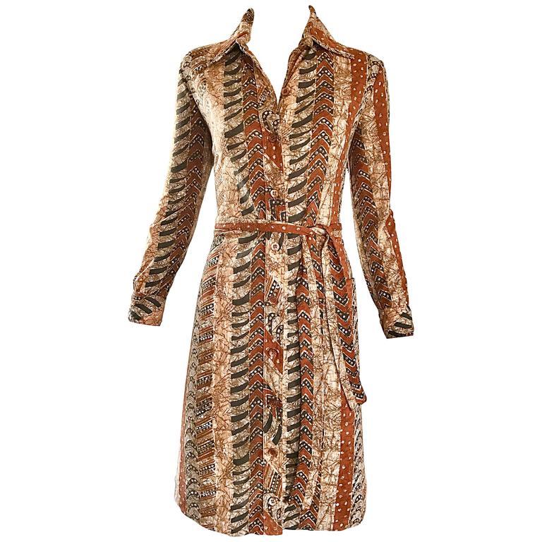 Bonwit Teller 1970s Batik Print Belted Cotton 70s Vintage Brown Safari Dress