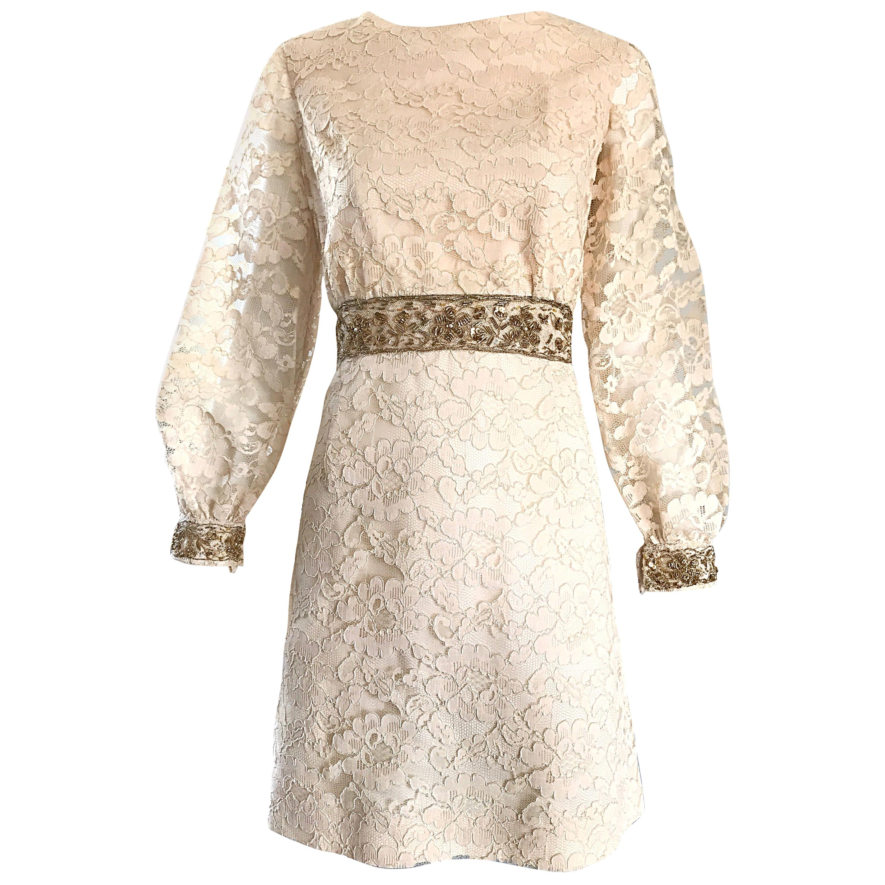 1960s Ivory and Gold Lace + Sequins Mod Vintage A - Line 60s Babydoll Dress
