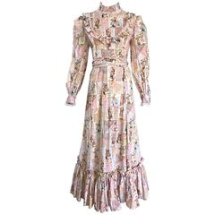 1970s Holly Hobbie Novelty Print Victorian Inspired Cotton Vintage Maxi Dress