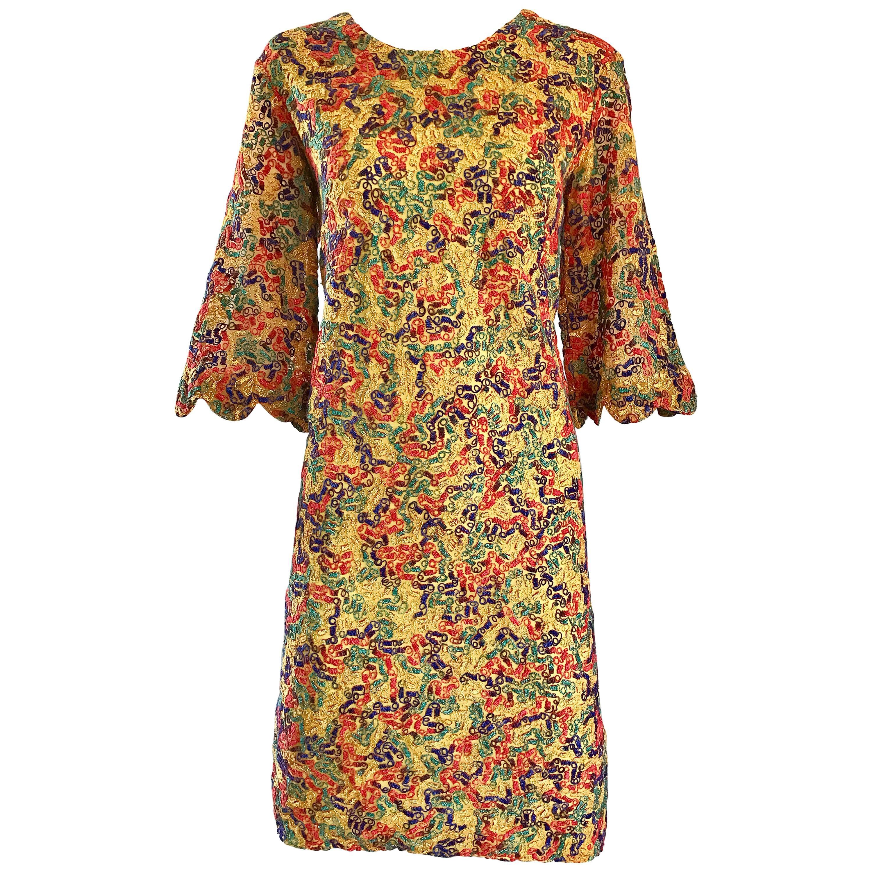 1960\u2019s Homemade Orange Dress with Bell Sleeves