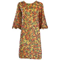 Amazing 1960s Colorful 60s Vintage Mod Shift Dress w/ Scalloped Bell Sleeves