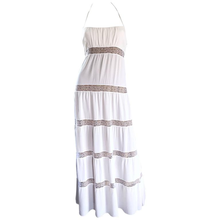 Michael Kors Collection White and Nude Silk + Lace Boho Halter Maxi Dress / Gown