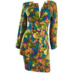 Vintage Vicky Tiel Couture Beautiful Silk Watercolor Skirt and Jacket Suit