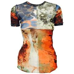 Jean Paul Gaultier Maille Femme Stretch Abstract Print Short Sleeve Top