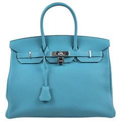 "Hermes Blue Paon Togo Leather Palladium ""Birkin"" 35 cm Bag"