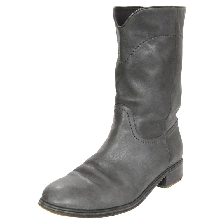 Chanel Grey Leather Calf-High Boots sz 41