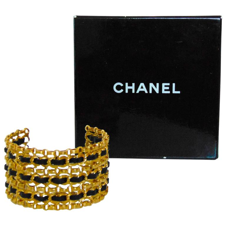 Chanel Gold Chain + Black Leather Wide Cuff Bracelet with Box Vintage 1980s  For Sale