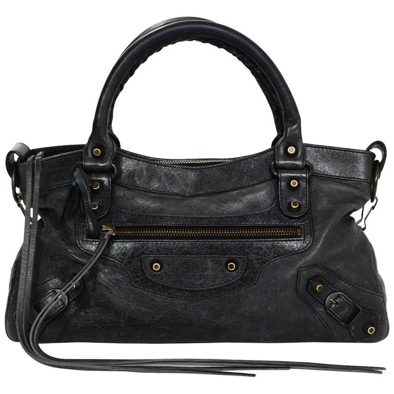 7091079224f Balenciaga Charcoal Distressed Leather Classic First City Moto Bag For Sale