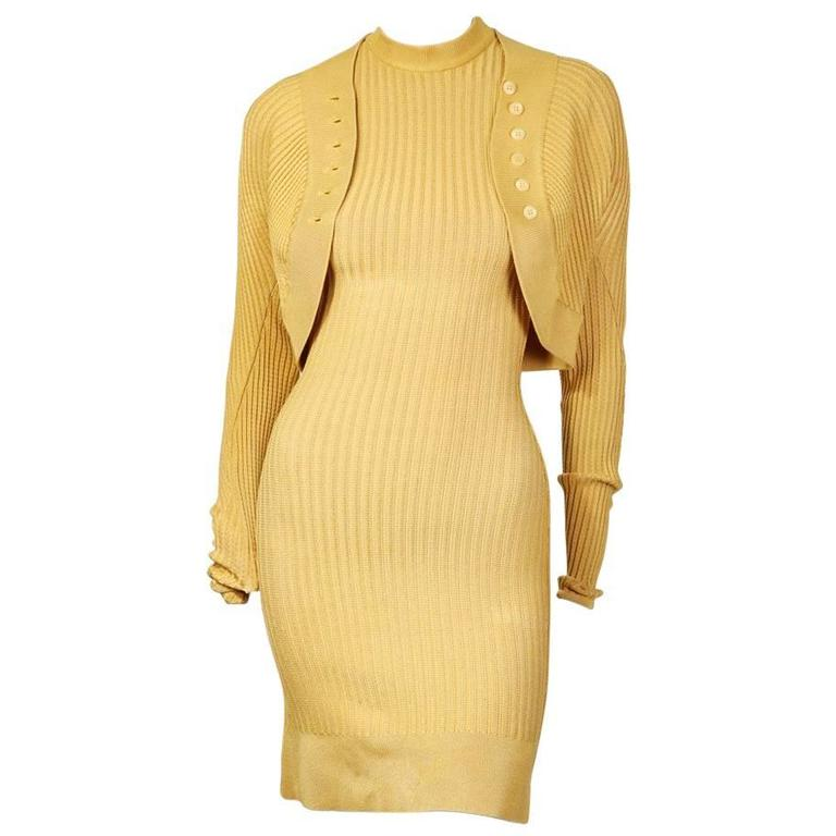Alaia Ribbed Knit Dress and Cardigan circa 1980s 1