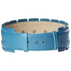 Alaia Blue Leather Belt circa 1980s