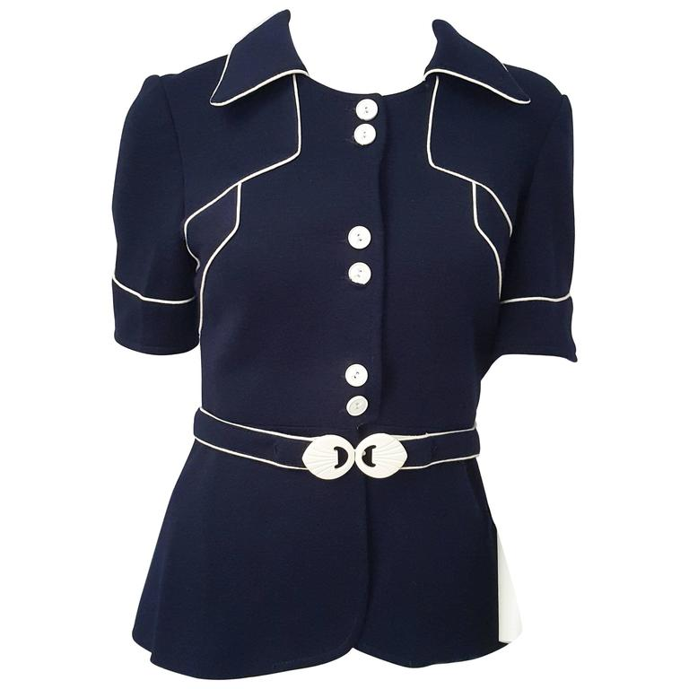 60s Navy Blue Knit Top w/ White Piping For Sale