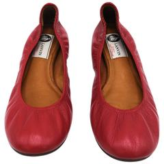 Lanvin Rouge Red Leather Ballet Flats 37.5