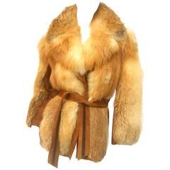 Revillon Paris Plush Fox Fur Belted Jacket ca 1970